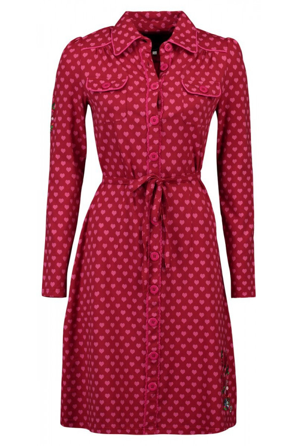 DRESS BETSY HEARTS RED