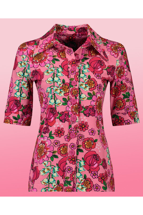 Button Shirt Mod Flowers Pink