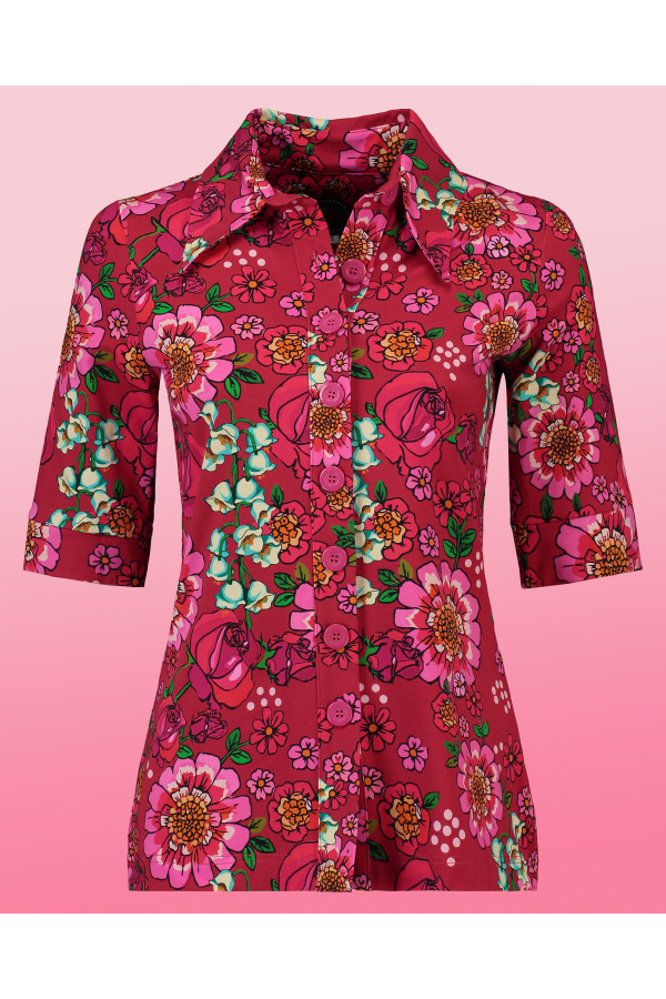Button Shirt Mod Flowers Red