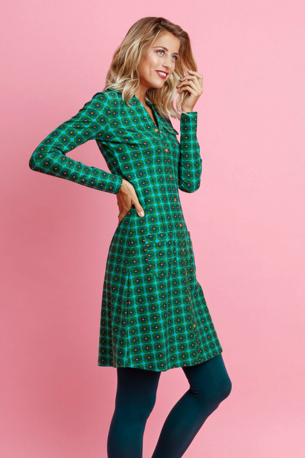 DRESS SNAPPIE RETRO BLOSSOM GREEN