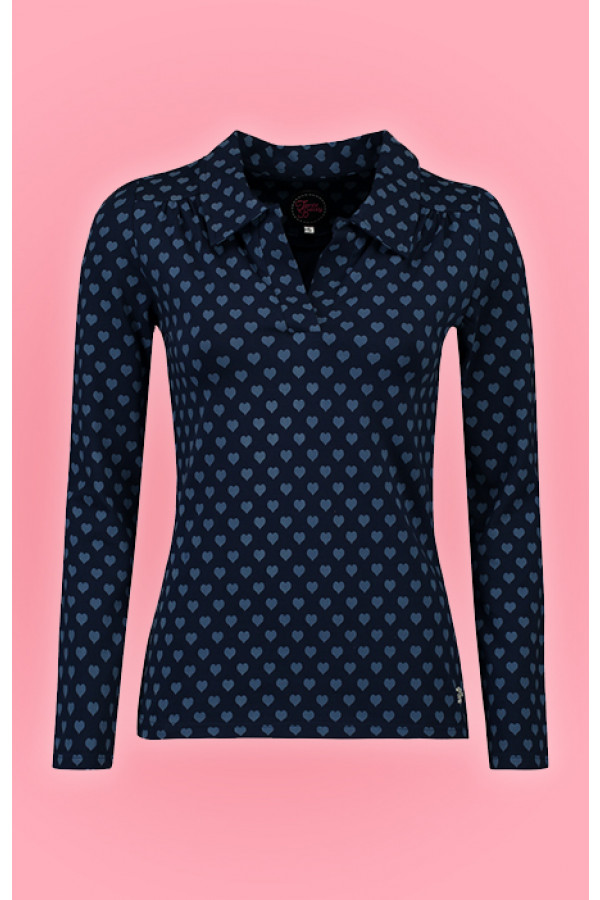 SHIRT NELLIE HEARTS NAVY