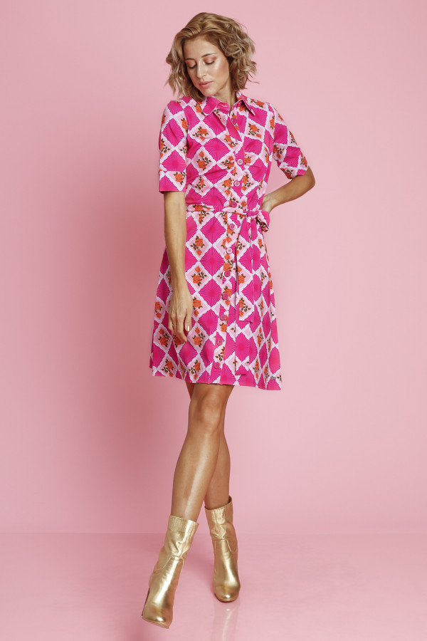 Button Down Dress Doily n Rose Pink