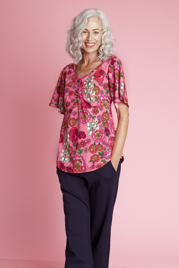 Tunic Butterfly Mod Flowers Pink