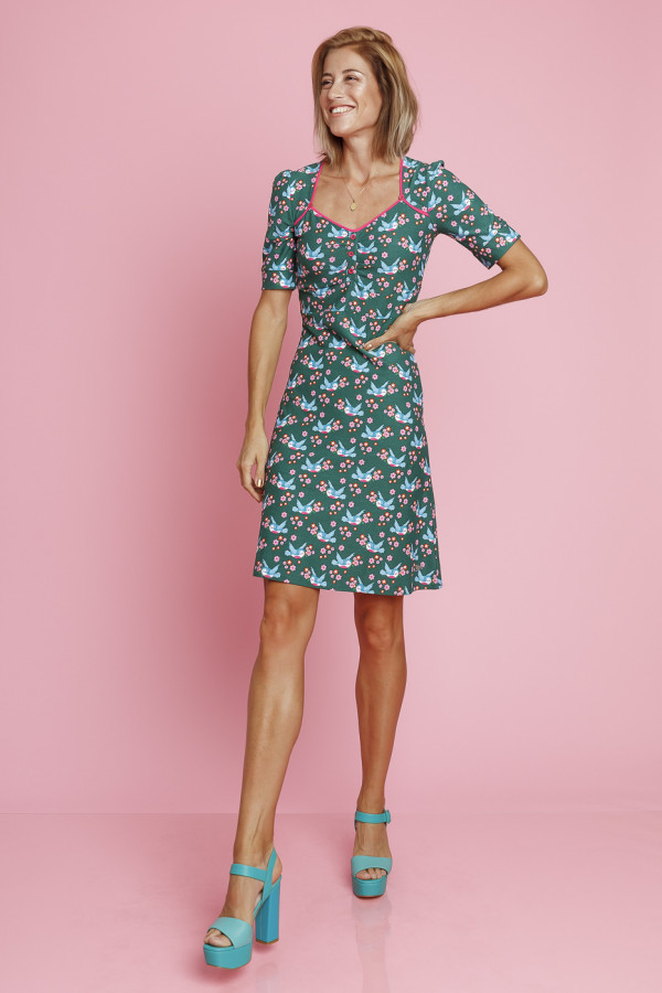 Dress Lola Birds Blos Green